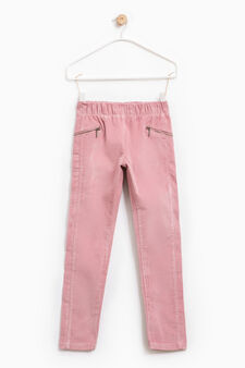 Solid colour stretch cotton trousers, Pink, hi-res