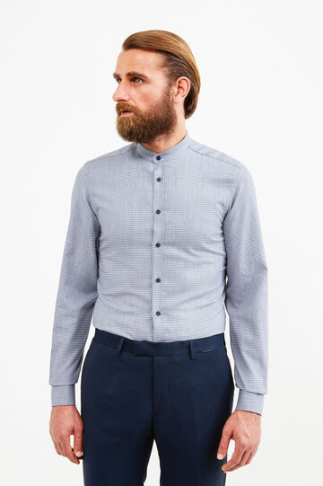 Custom-fit patterned formal shirt, Dark Blue, hi-res