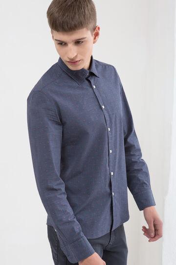 Camicia puro cotone micro quadri, Blu scuro, hi-res