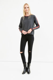 Sweatshirt with printed sleeves, Grey/Red, hi-res
