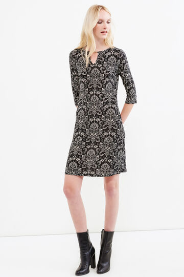 Patterned stretch dress with V-neck, Multicolour, hi-res