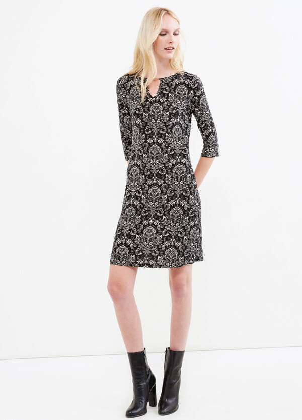 Patterned stretch dress with V-neck | OVS