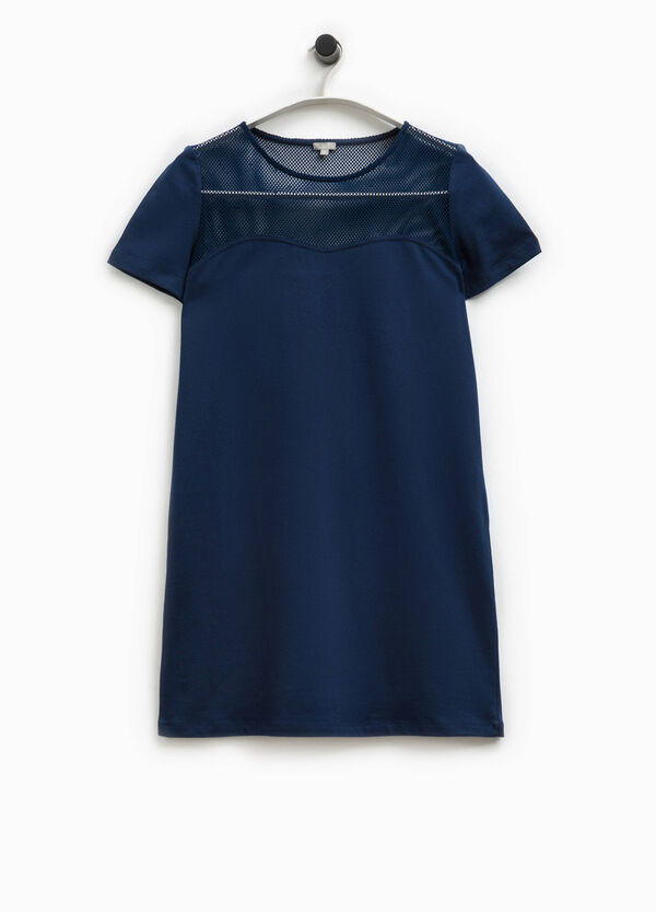 Smart Basic cotton dress with mesh | OVS