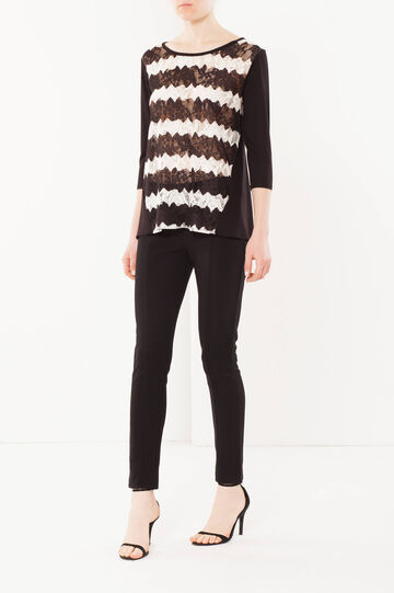 Lace jumper, White/Black, hi-res