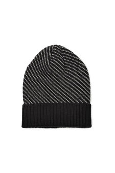 Ribbed beanie cap with brim, Black, hi-res