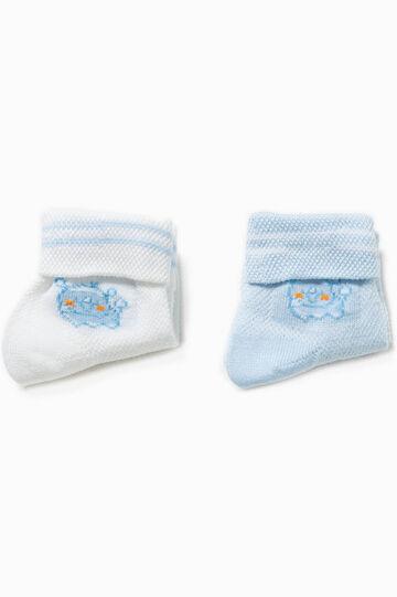Set due paia di calze con ricamo, Bianco/Azzurro, hi-res