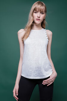 Viscose blend top with eyelets, Milky White, hi-res