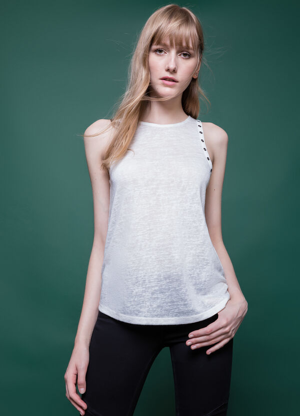 Viscose blend top with eyelets | OVS