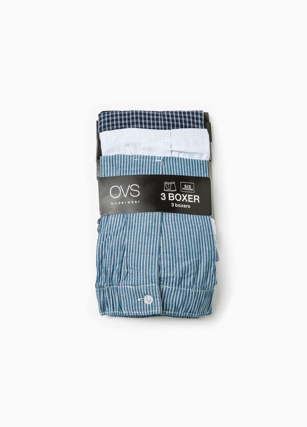 Three-pack patterned cotton boxer shorts | OVS