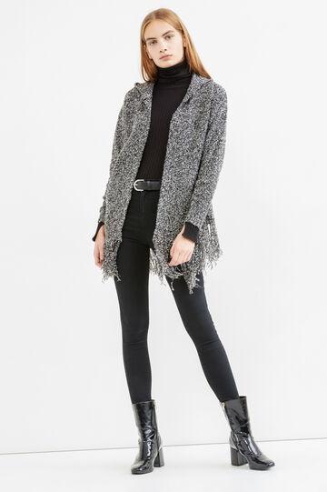 Hooded cardigan with fringes, White/Black, hi-res