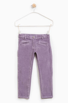 Stretch trousers with diamantés on back, Lilac, hi-res