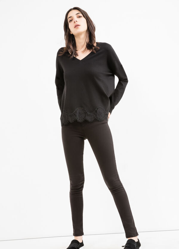 Viscose and modal blend pullover with lace | OVS