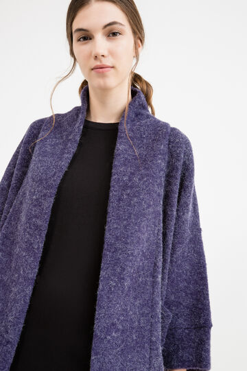 Cardigan with buttonless opening, Blue, hi-res