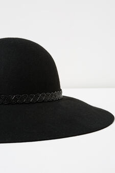 Cappello falda larga con perline, Nero, hi-res