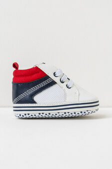 Sneakers with polka dot soles and laces, White/Blue, hi-res