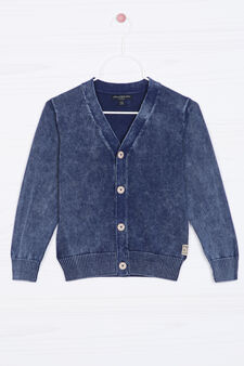 Knitted cardigan in 100% cotton., Navy Blue, hi-res