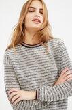 Striped, 100% cotton sweatshirt, Grey, hi-res