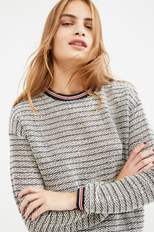 Striped, 100% cotton sweatshirt, Grey, hi-res