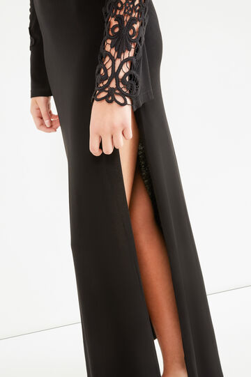 Long stretch viscose dress with embroidery, Black, hi-res