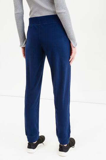 Pantaloni tuta in pile tinta unita, Blu, hi-res