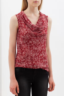 Floral blouse with drape neckline., White/Red, hi-res