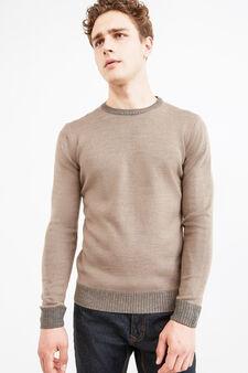 Pullover tinta unita lavorato tricot, Cammello, hi-res