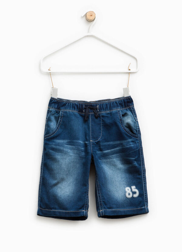 Printed stretch denim Bermuda shorts   OVS