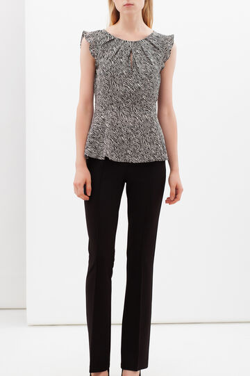 Blouse with micro animal print and lace, White/Black, hi-res