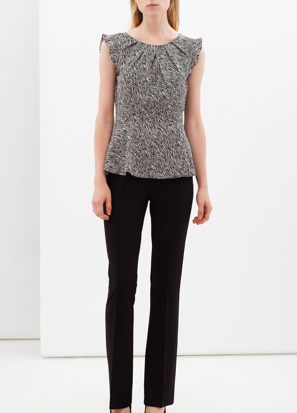Blouse with micro animal print and lace | OVS