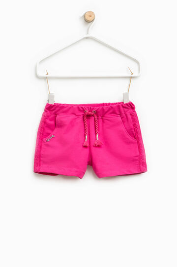 Shorts with lace bands on the sides, Fuchsia, hi-res