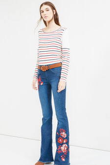 Flare-fit stretch jeans with embroidery, Dark Blue, hi-res
