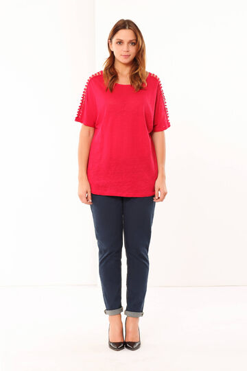 Curvy openwork T-shirt, Strawberry Red, hi-res