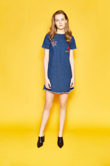 Denim dress with embroidery and patches, Denim, hi-res