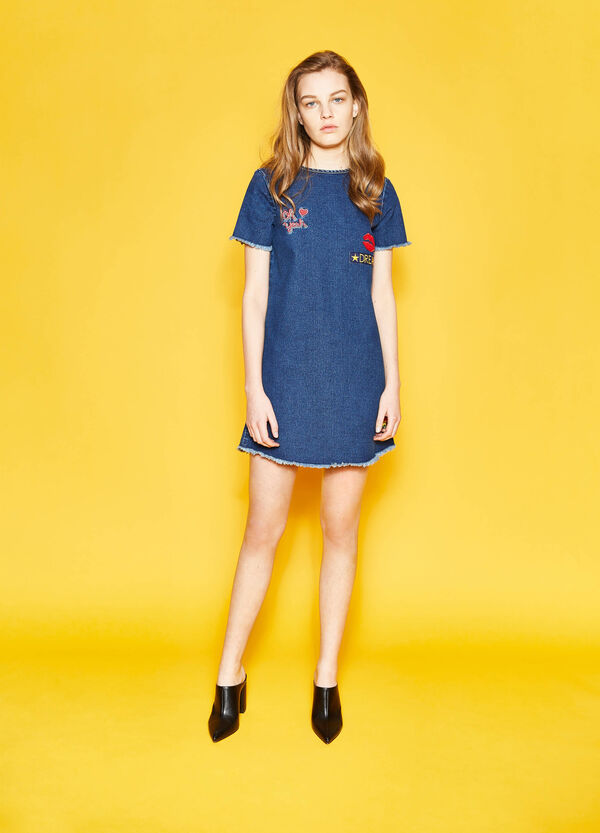 Denim dress with embroidery and patches | OVS