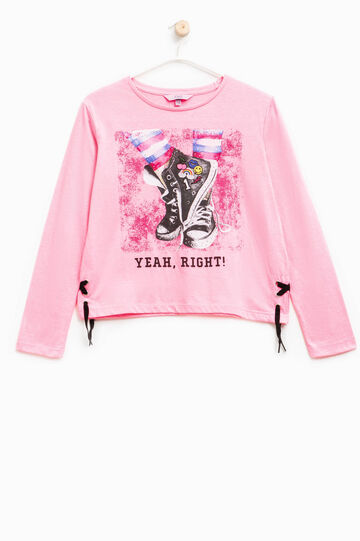 Camiseta de algodón con estampado y lazada, Rosa flúor, hi-res
