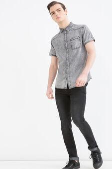 Short-sleeved denim shirt, Black, hi-res