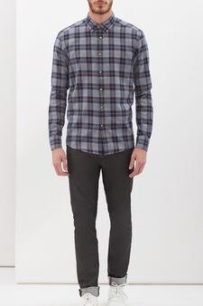 Camicia puro cotone a quadri, Bianco/Blu, hi-res