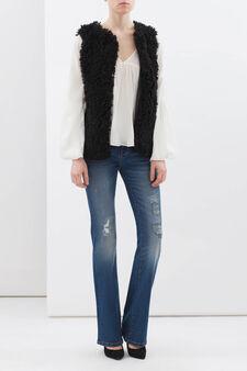 Faux fur waistcoat, Black, hi-res