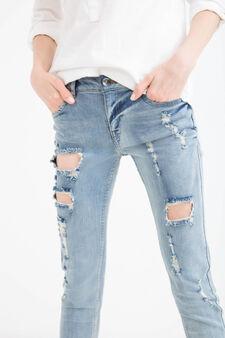 Jeans skinny fit stretch con strappi, Blu chiaro, hi-res