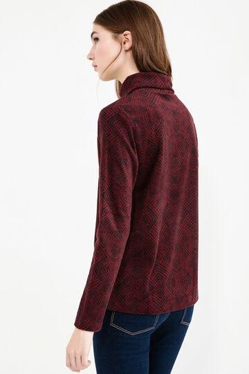 Fleece sweatshirt with contrasting pattern, Black/Red, hi-res