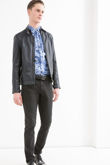 Camicia puro cotone floreale G&H, Blu, hi-res