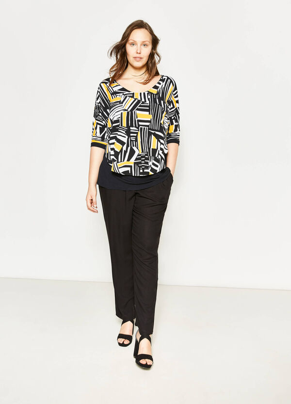 Curvy blouse with faux layering | OVS