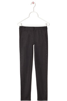 Rhinestone stretch leggings, Black, hi-res