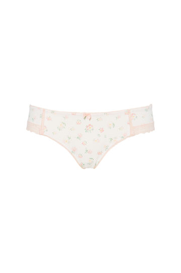 Lace and microfibre briefs with pattern, White, hi-res