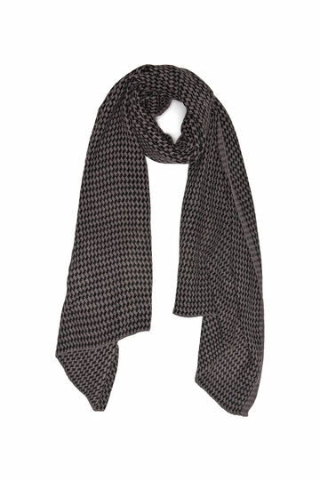 Knitted scarf with geometric pattern., Grey Marl, hi-res