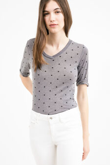 T-shirt puro cotone fantasia a stelle, Grigio, hi-res