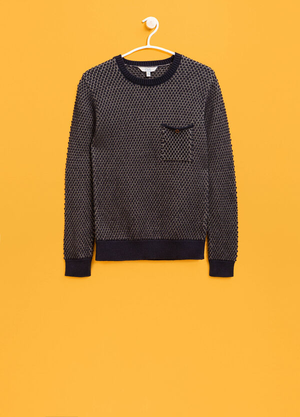 Knitted cotton pullover with pattern | OVS