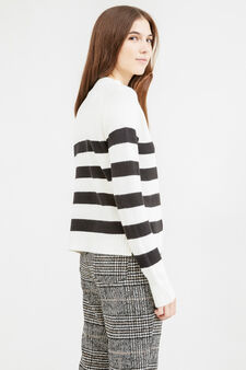 Striped pullover with high neck, White/Black, hi-res