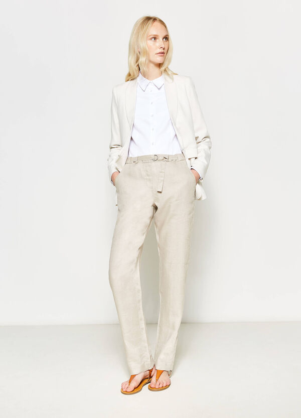 Trousers in 100% linen with belt | OVS