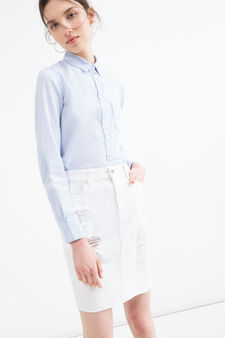 Used-effect denim skirt, White, hi-res